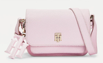 PETIT SAC BANDOULIÈRE À BRELOQUE MONOGRAMME ROSE CLAIR TOMMY HILFIGER TH SOFT MINI CROSSOVER AW0AW09