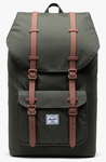 SAC A DOS HERSCHEL LITTLE AMERICA DARK OLIVE SADDLE BROWN 10014 03011 www.solene-maroquinerie.fr