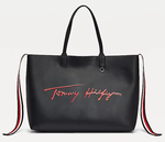 SAC CABAS TOMMY HILFIGER ICONIC A LOGO SIGNATURE BLEU MARINE AW0AW08607 YAF www.solene-maroquinerie.