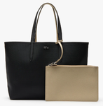SAC CABAS ANNA RÉVERSIBLE BICOLORE NOIR BLACK WARM SAND NF2142AAA91 www.solene-maroquinerie.fr